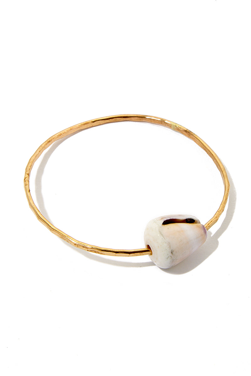 Shell Bangle Bracelet - Gold