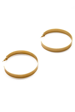 EKLEXIC Gold Large Flat Hoops Jewelry | Yellow Gold| Eklexic Gold Large Flat Hoops Side by Side