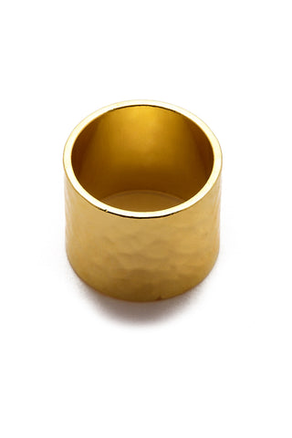 EKLEXIC Gold Hammered Cigar Band Ring Jewelry | Yellow Gold| Eklexic Gold Hammered Cigar Band Ring