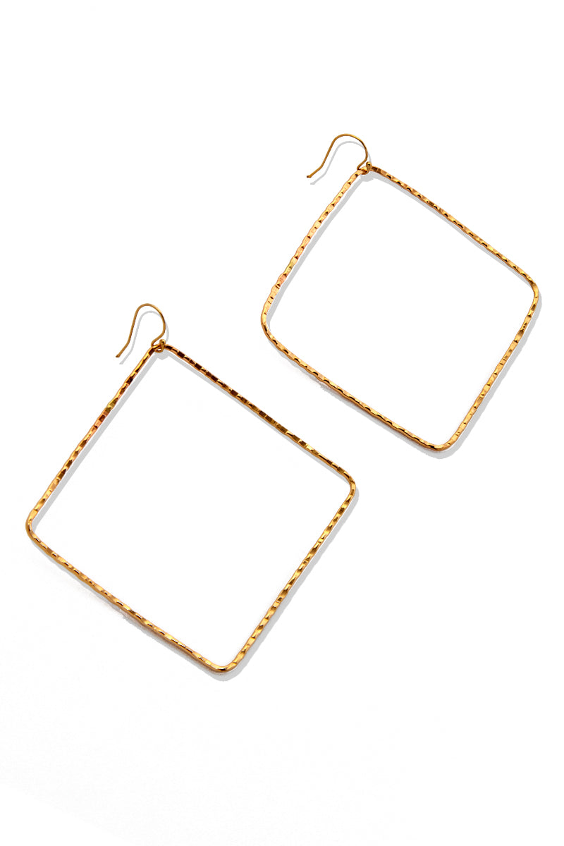 Hokulia Square Hoop Earrings - Gold