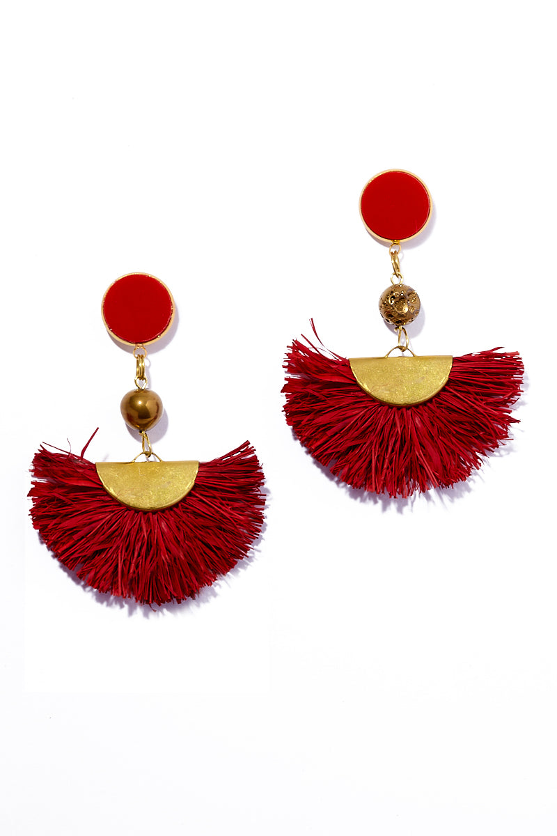 AURORAH Fan Dangle Earrings - Deep Red Jewelry   Deep Red  Aurorah Fan Dangle Earrings - Retro fire engine red 60s mod style earrings made with natural palm tree fibers