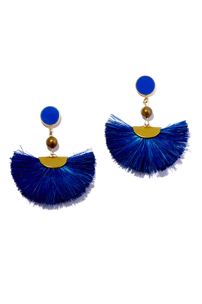 Fan Dangle Earrings - Deep Blue