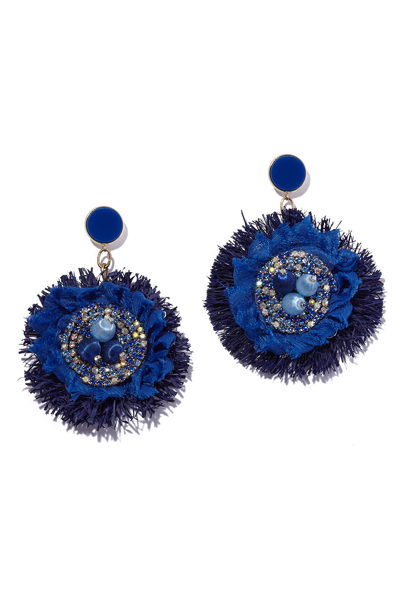 Dangle Flower Earrings - Deep Blue