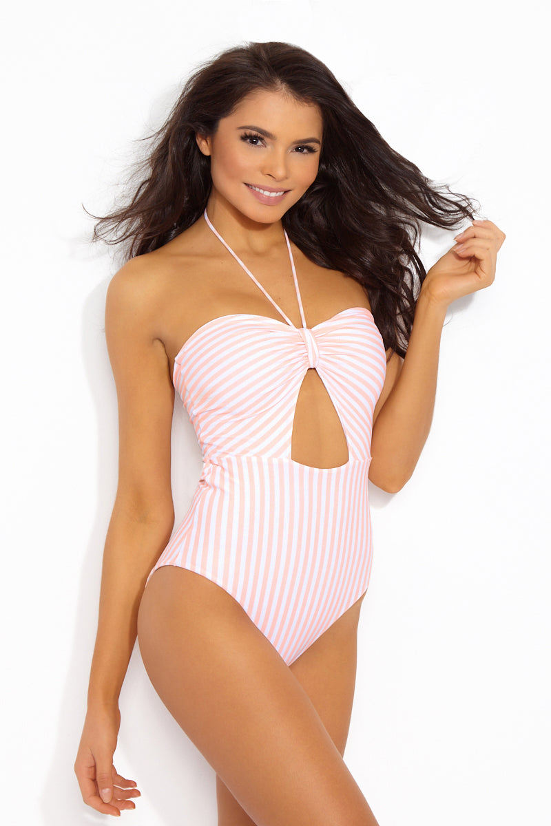 01 25 18 On Model Alana0025 JC 5da1fd63 7d06 4985 952f 9161b105c70f Kat Cut Out Halter One Piece Swimsuit 8211 Peaches N Cream Stripes