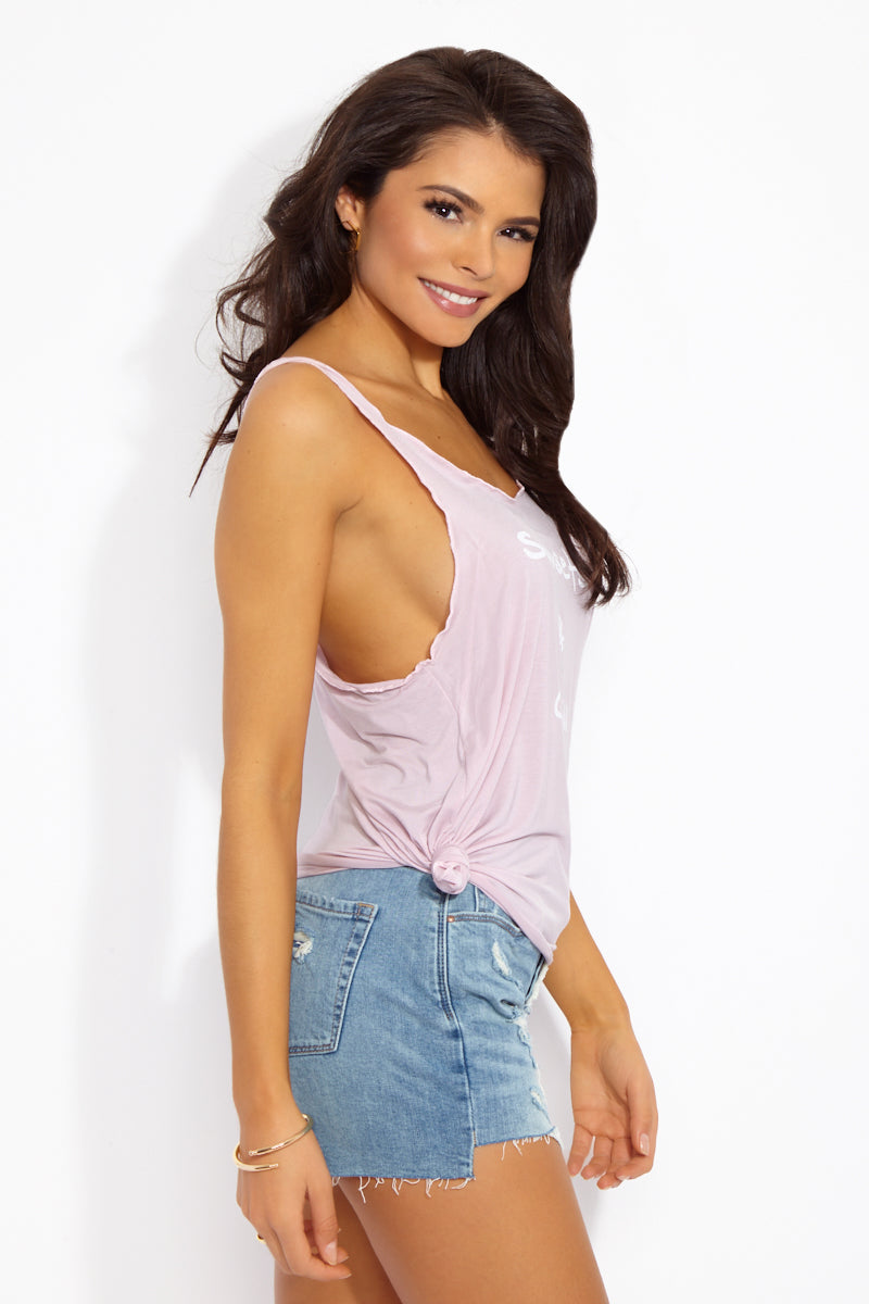 ETE APPARELS Sunset & Chill Tank Top - Blush Resort Top | Blush| Ete Apparels Sunset & Chill Tank Top - Blush Side View Thin Strap Tank Top  Scoop neckline Loose Sides for Side Boob Exposure  Gray Font  Fabric: Micro Modal