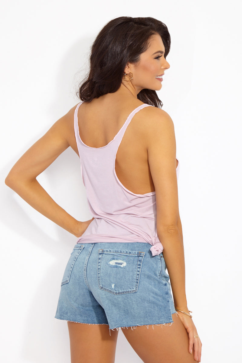 ETE APPARELS Sunset & Chill Tank Top - Blush Resort Top | Blush| Ete Apparels Sunset & Chill Tank Top - Blush Back View Thin Strap Tank Top  Scoop neckline Loose Sides for Side Boob Exposure  Gray Font  Fabric: Micro Modal