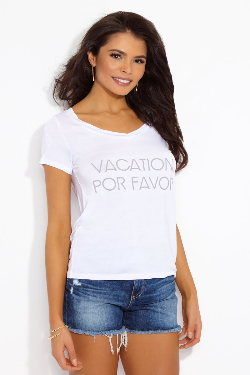 ETE APPARELS Vacation, Por Favor V Neck Tee - White Resort Top | White| Ete Apparels Vacation, Por Favor V Neck Tee - White Front View Basic Tee  V Neckline  Short Sleeves Gray Font in All Caps Fabric: Micro Modal