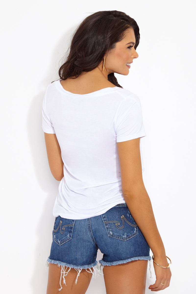 ETE APPARELS Vacation, Por Favor V Neck Tee - White Resort Top | White| Ete Apparels Vacation, Por Favor V Neck Tee - White Back View Basic Tee  V Neckline  Short Sleeves Gray Font in All Caps Fabric: Micro Modal