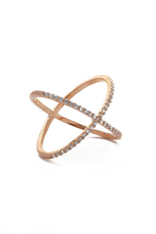 JEWEL CULT Pave Crystal X Cross Ring Jewelry | Rose Gold| Jewel Cult Pave Crystal X Cross Ring