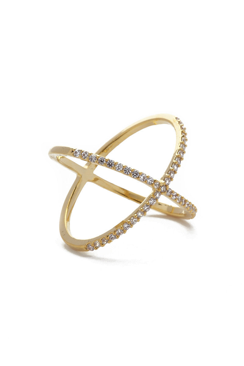 JEWEL CULT Pave Crystal X Cross Ring Jewelry | Gold| Jewel Cult Pave Crystal X Cross Ring