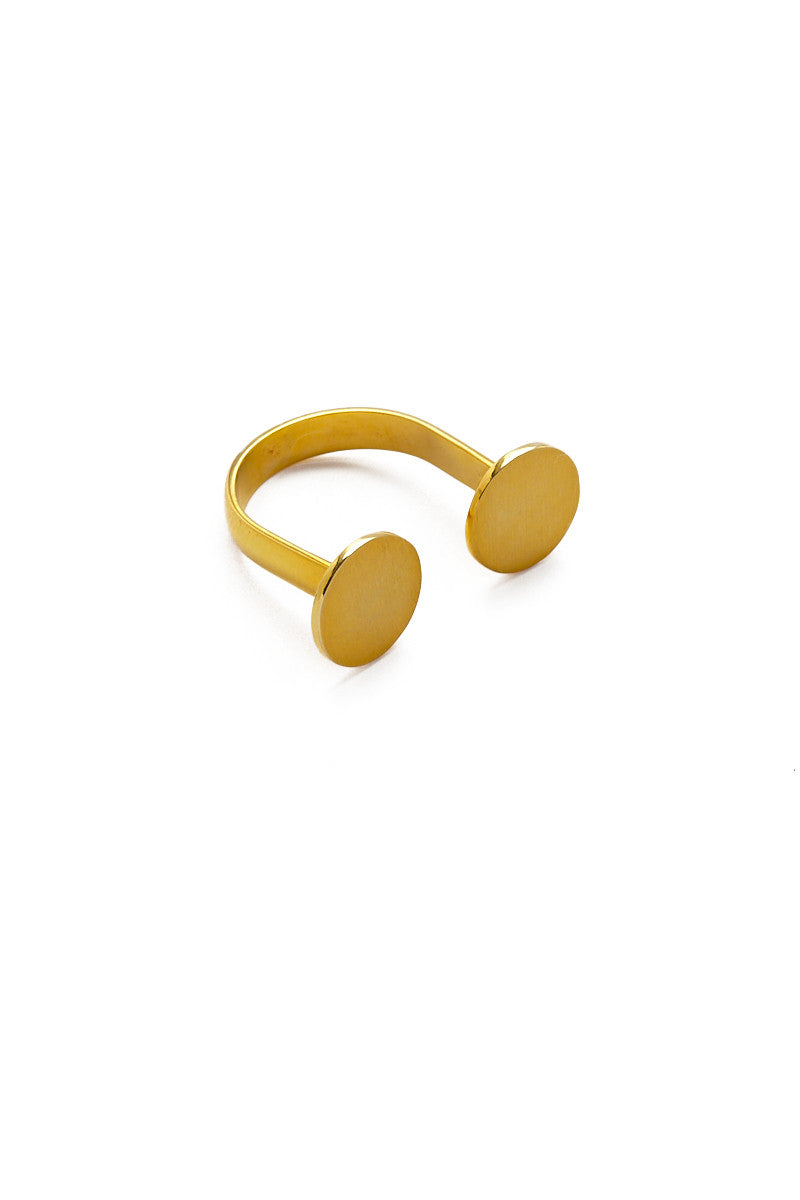 MIRA Twin Disc Adjustable Ring Accessories | Yellow Gold| MIRA Twin Disc Adjustable Ring