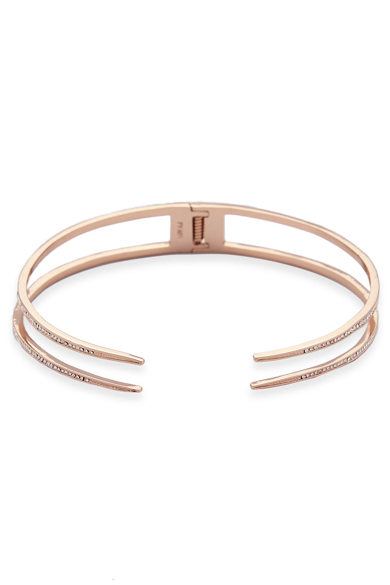 LUV AJ The Double Pave Spike Collar Accessories | Rose Gold| LUV AJ Double Spike Rose Gold Choker