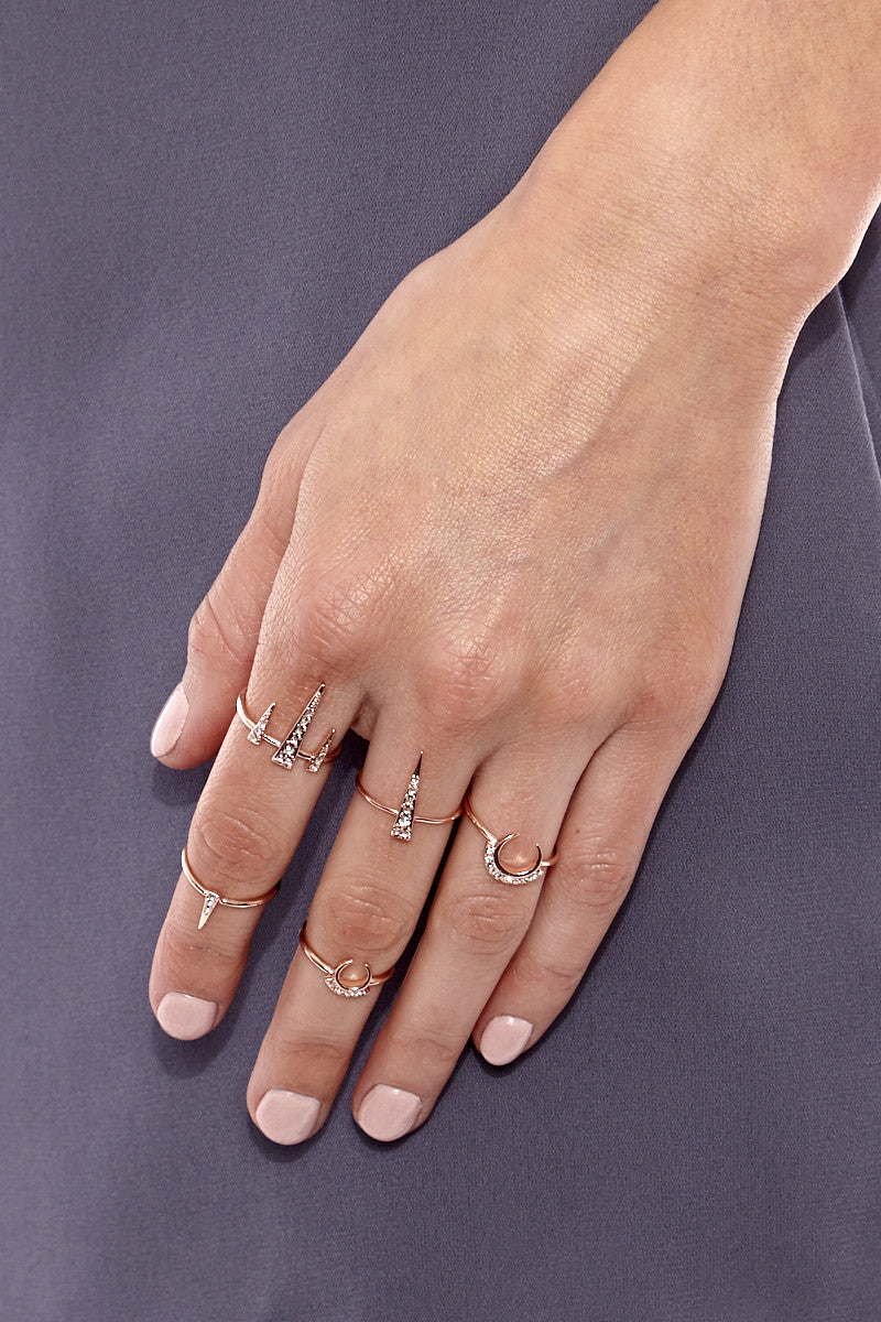 LUV AJ The Crescent Spike Ring Set Accessories | Rose Gold| LUV AJ Crescent Spike Ring Set