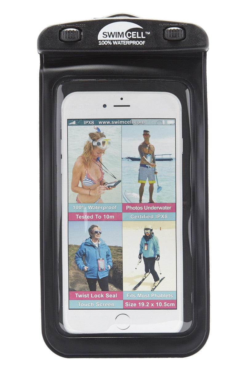 SWIMCELL Large Waterproof Phone Case Phone Accessories | Black| Swimcell Large Waterproof Phone Case