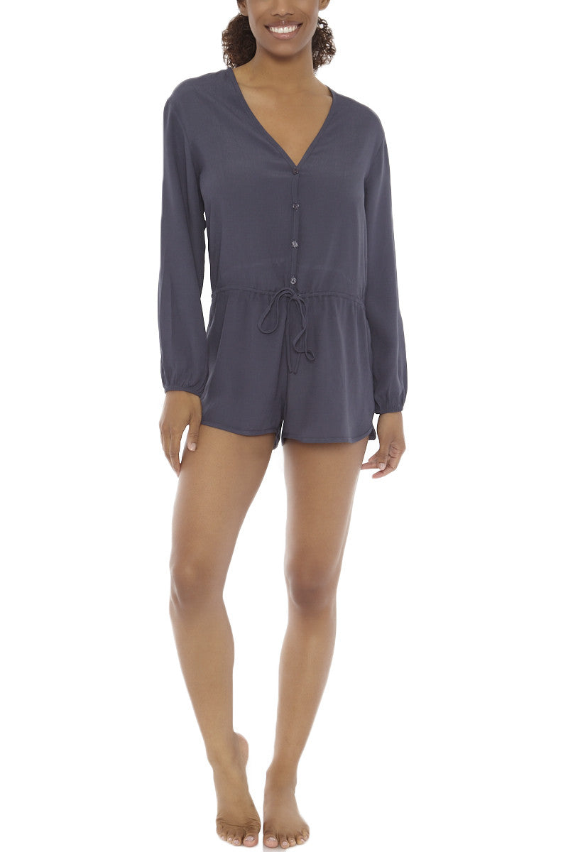 Cozumel Long Sleeve Romper - Ash Grey