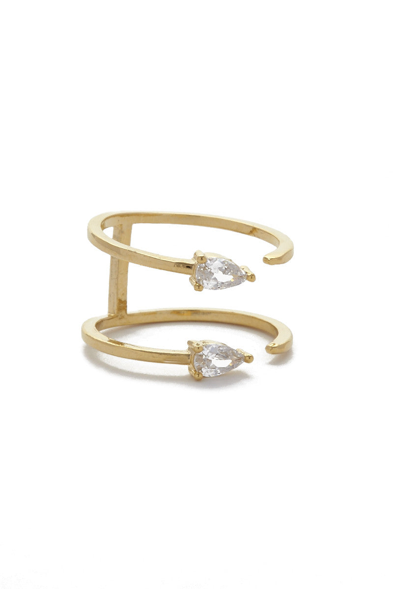 JEWEL CULT Tiny Double Crystal Teardrop Ring Jewelry | Gold| Jewel Cult Tiny Double Crystal Teardrop Ring