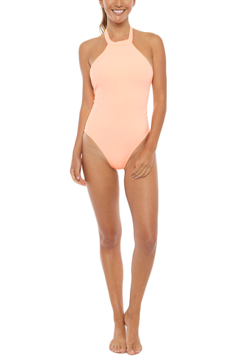 Body Gloved Ribbed High Neck T Back One Piece Swimsuit - Apricot Orange