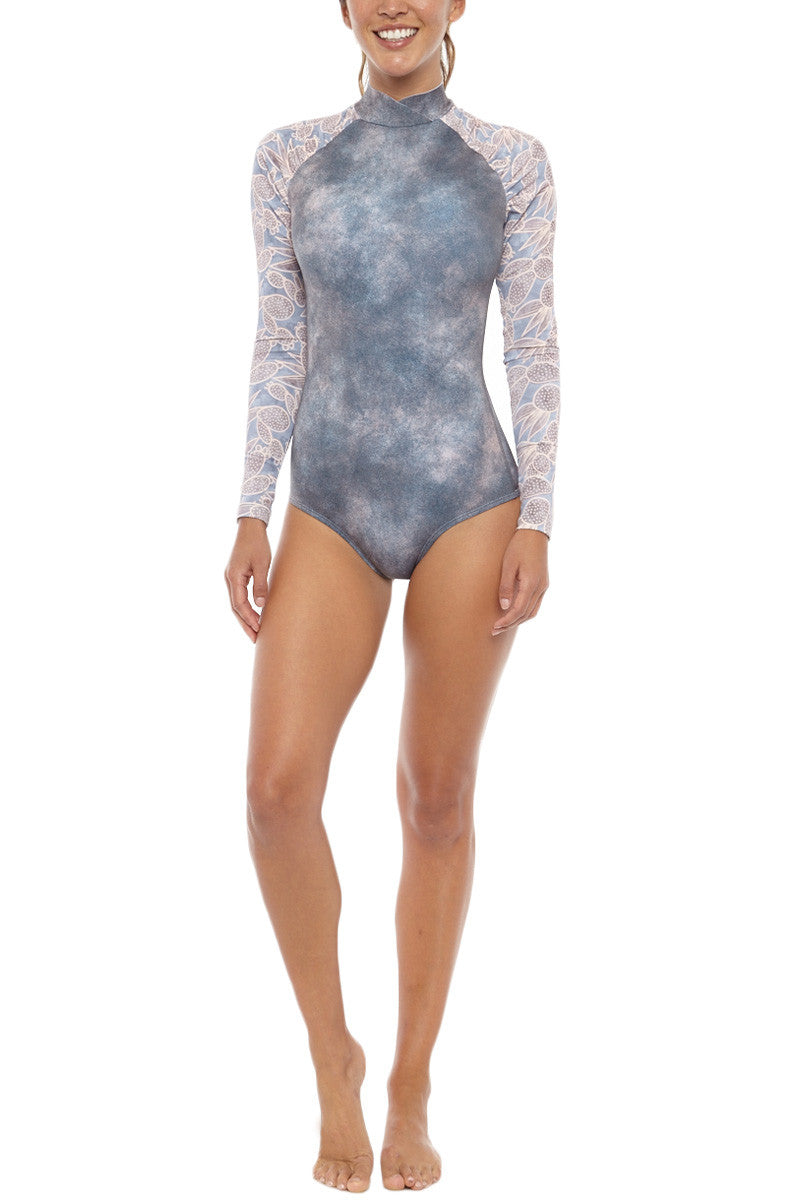Gaviotas Long Sleeve Surf One Piece Swimsuit - Nopal Print
