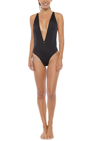 TOWERS SWIMWEAR Deep V 90's One Piece One Piece | Black| Towers Swim 90's One Piece