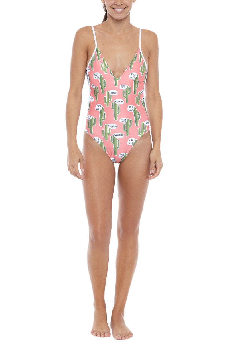 Cactus Deep V One Piece Swimsuit - Pink Cactus Print