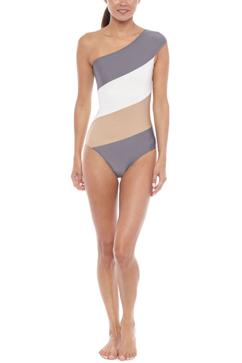Bicolor One Shoulder One Piece