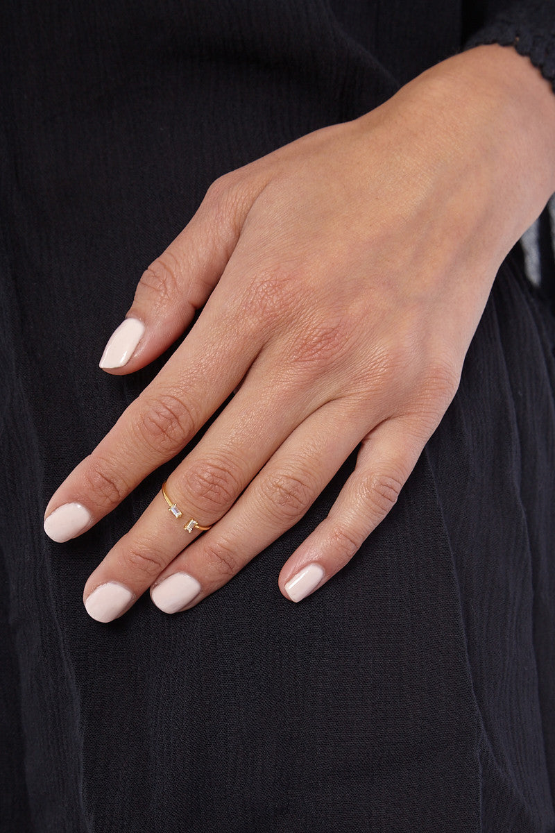 JEWEL CULT Tiny Crystal Baguette Ring Jewelry | Gold| Jewel Cult Tiny Crystal Baguette Ring