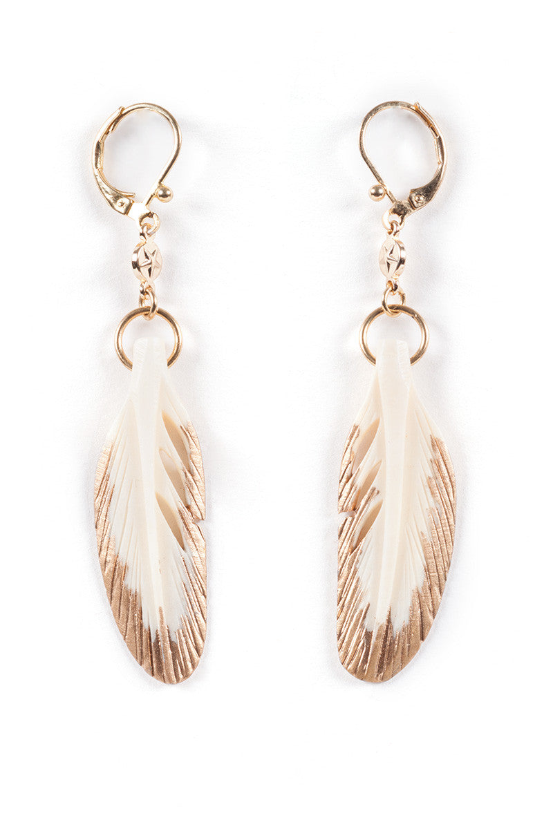 HAUS OF TOPPER Bone Feather Earrings Jewelry | Gold|