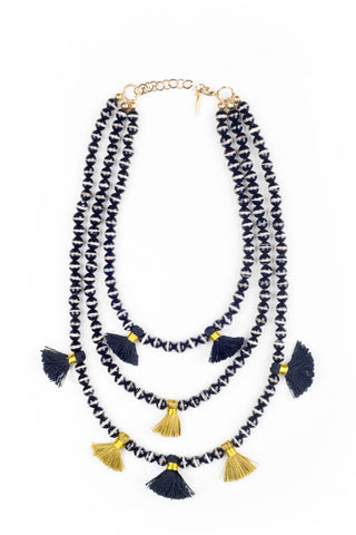 HAUS OF TOPPER Triple Strand Agate Necklace Accessories | Black & White|