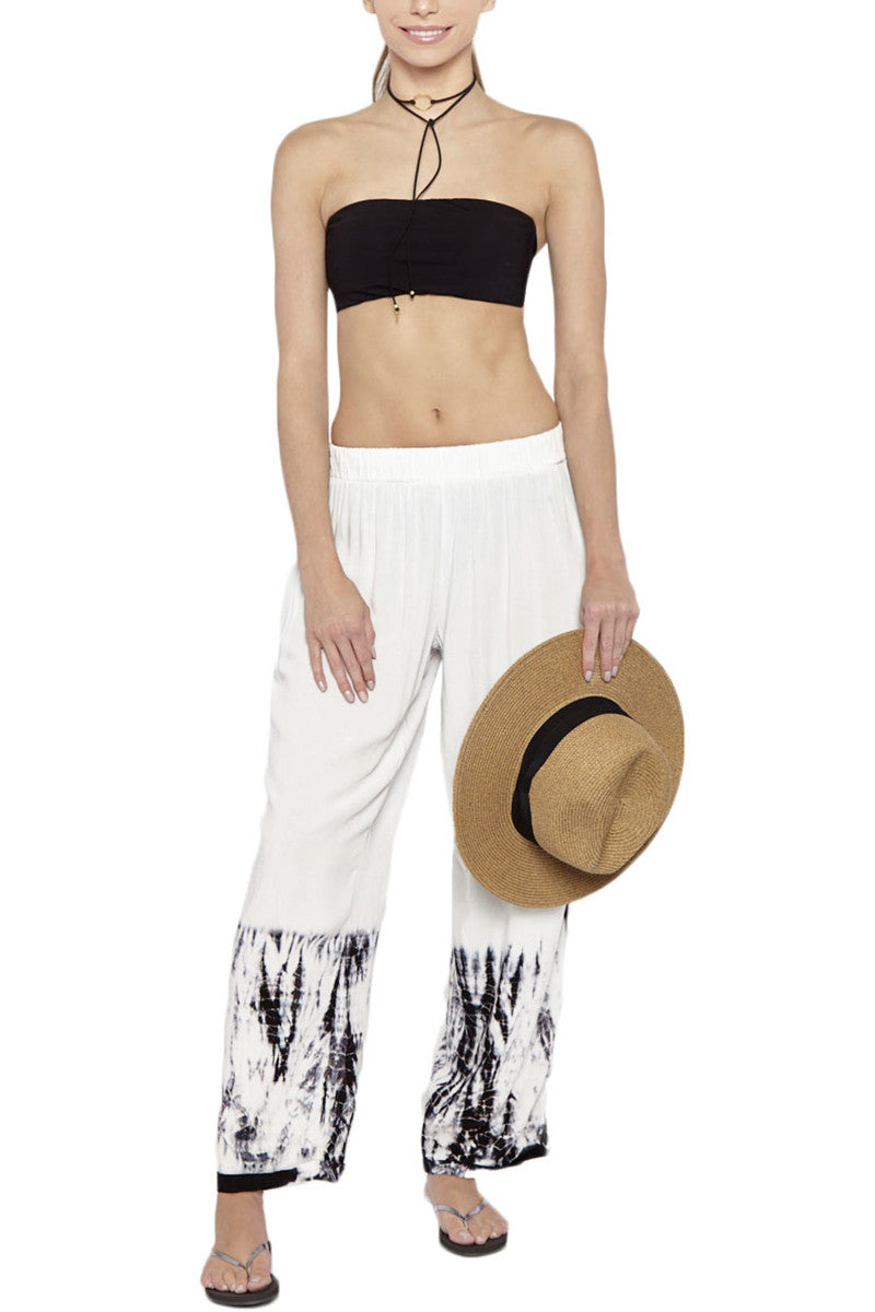 ENTREAGUAS Coral Hand Dyed Pants Coverup | White/Dye| Entreaguas Coral Hand Dyed Pants