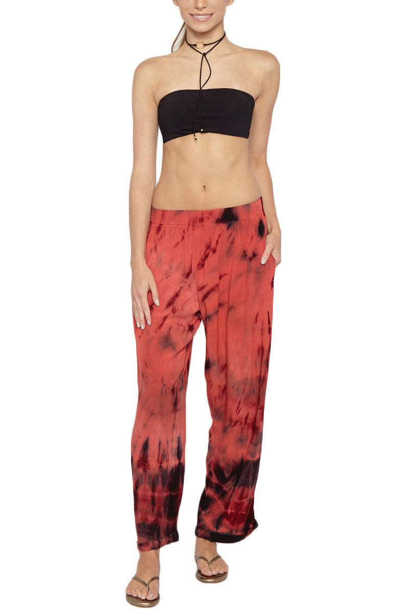 ENTREAGUAS Coral Cosmic Hand Dyed Pants Resort Bottom | Coral Cosmic/Dye| Entreaguas Coral Cosmic Hand Dyed Pants