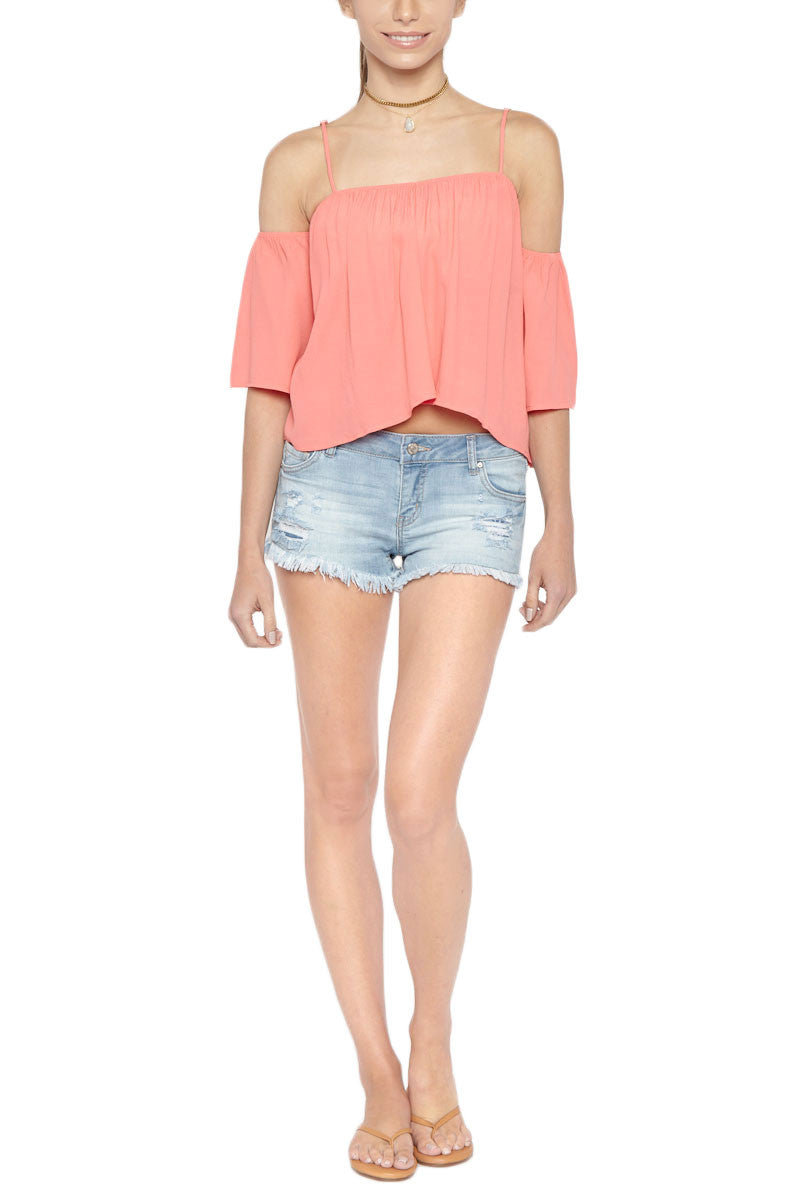 Flores Flowy Off Shoulder Top - Hibiscus Pink
