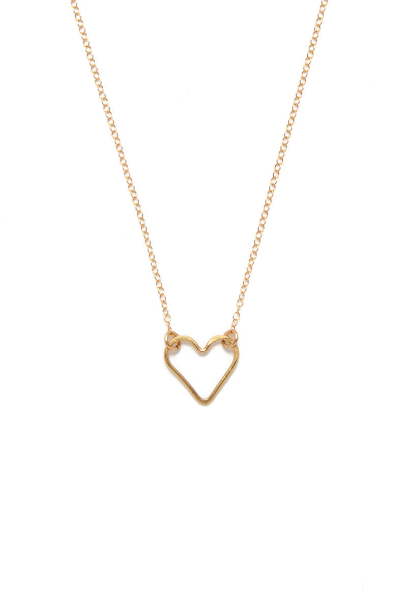 Rosa Heart Pendant Necklace - Gold