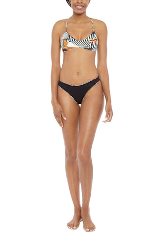 POEMA SWIM Reversible Kiss Kiss Bottoms Bikini Bottom | Geometric/Black| Poema Swim Reversible Kiss Kiss Bikini Bottoms