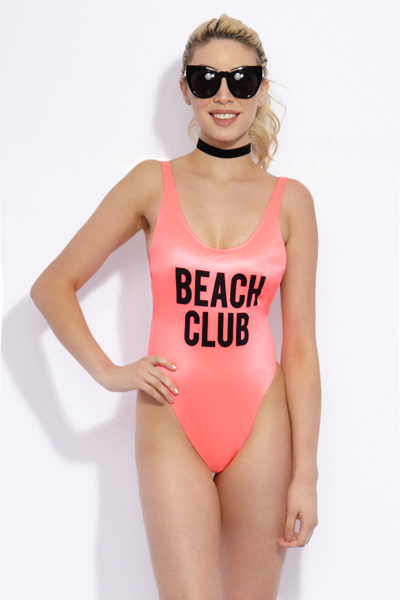 Beach Club Tank High Cut One Piece Swimsuit - Neon Pink