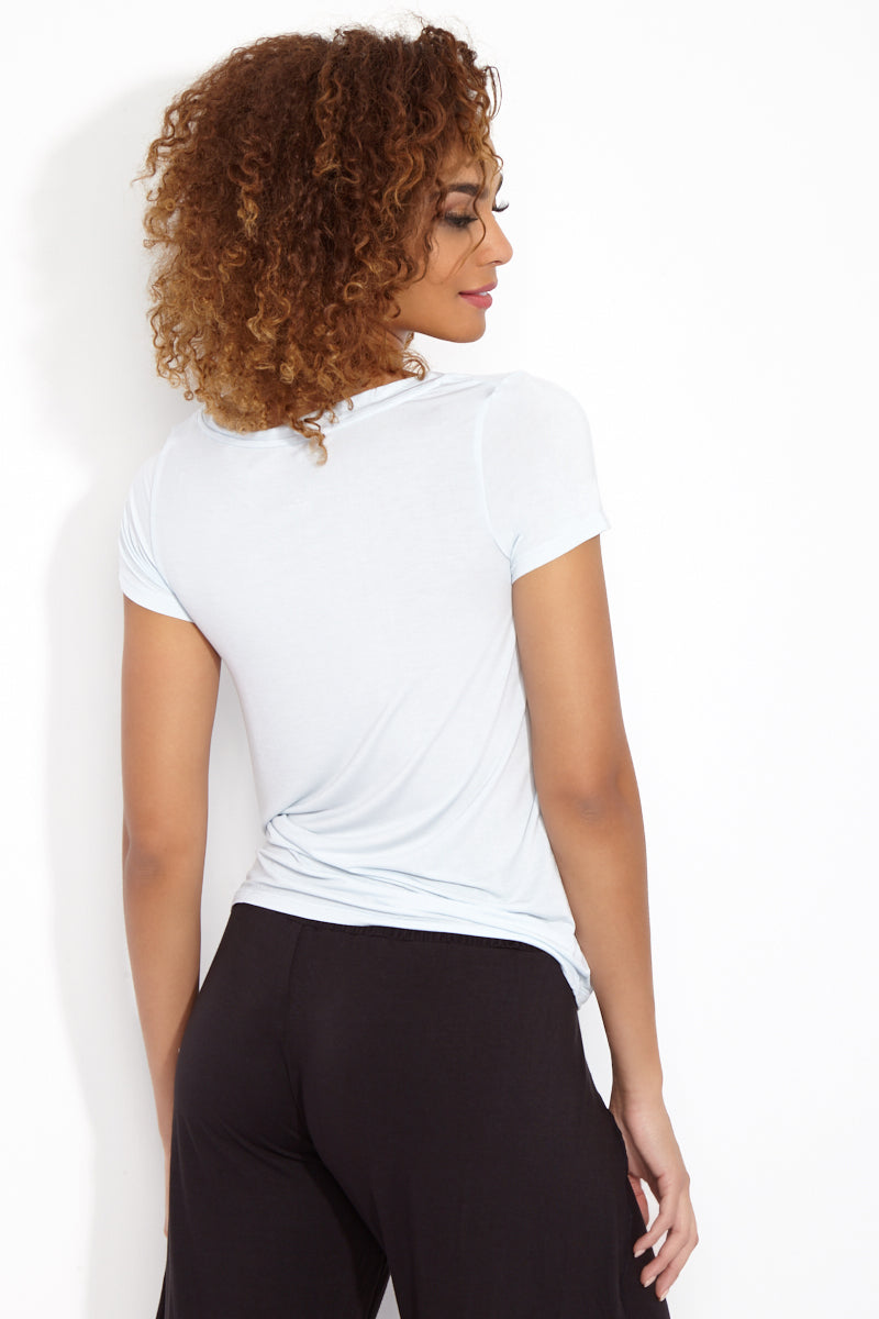 ETE APPARELS The Struggle Is Real V Neck Tee - Powder Resort Top | Powder| Ete Apparels The Struggle Is Real V Neck Tee - Powder Back View