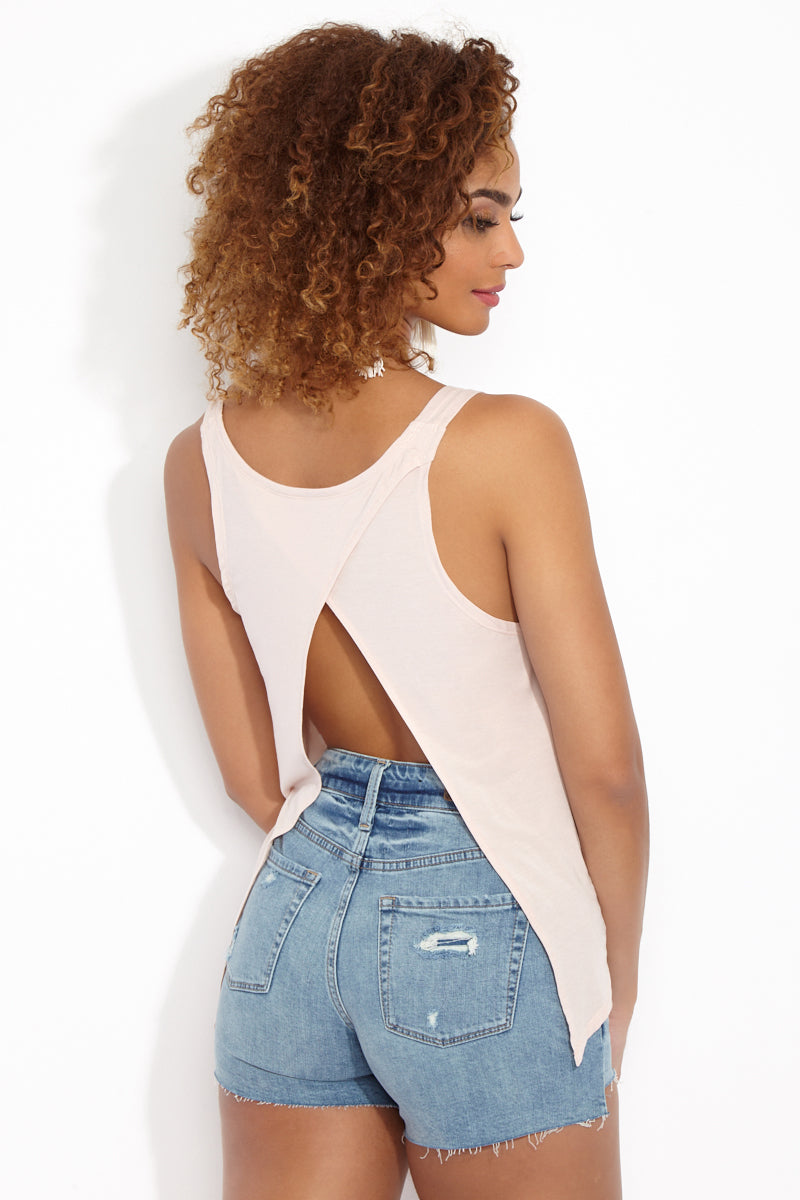ETE APPARELS Sunkissed Split Back Tank Top - Sand Resort Top | Sand| Ete Apparels Sunkissed Split Back Tank Top - Sand Back View  Thick Strap Tank Top  Split Back Opening  Longer Length in the Back White Font  Fabric: Micro Modal