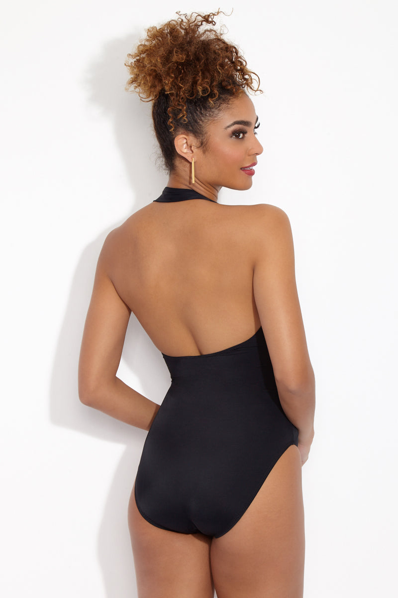 NORMA KAMALI Halter Sweetheart Mio One Piece - Black One Piece | Black| Norma Kamali Halter Sweetheart Mio One Piece Back View Sweetheart neckline Halter neck High cut leg Ruched detail Moderate coverage as seen on Chelsea Manning in American Vogue