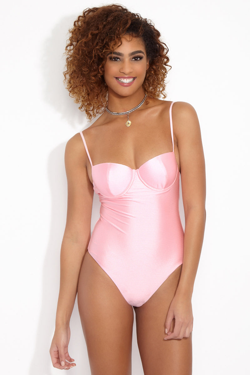 LOLLI Gidget Underwire One Piece - Cotton Candy Pink One Piece   Cotton Candy Pink   Gidget Underwire One Piece - Cotton Candy Pink. Light cotton candy pink one piece with underwire cups, adjustable shoulder straps, and cheeky coverage.