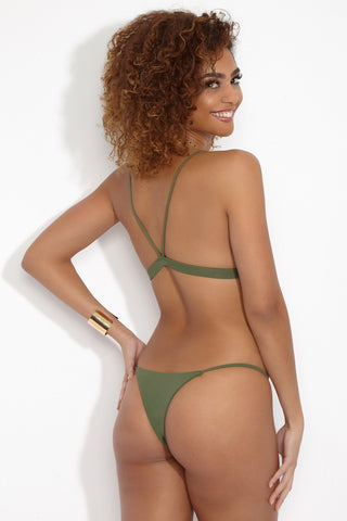 WILDASTER Maya Skimpy Bottom - Matcha Latte Bikini Bottom | Matcha Latte| Wildaster Maya Skimpy Bottom - Green Back View Single Side Straps Skimpy Coverage  Seamless Stitching Double Lined  80% Nylon / 20% Spandex
