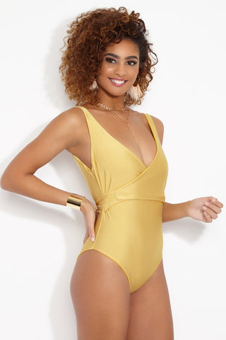 CAMI AND JAX Gold Coast Jackie Wrap One Piece One Piece | Gold Coast| Cami and Jax Gold Coast Jackie Wrap One Piece Side View  Wrap style one-piece  Low v-neckline  Low V back   High cut  leg Cheeky-moderate  coverage Fully lined 80% Nylon / 20% Spandex