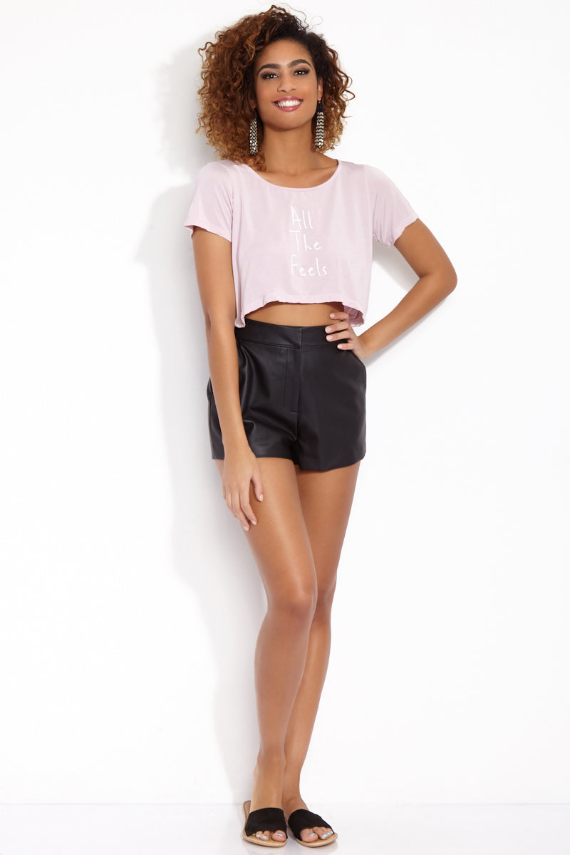 ETE APPARELS All The Feels Crop Tee - Blush Resort Top | Blush| Ete Apparels All The Feels Crop Tee - Blush Front View Crop Top  Short Sleeves A -Line Cut   White Font Fabric: Micro Modal