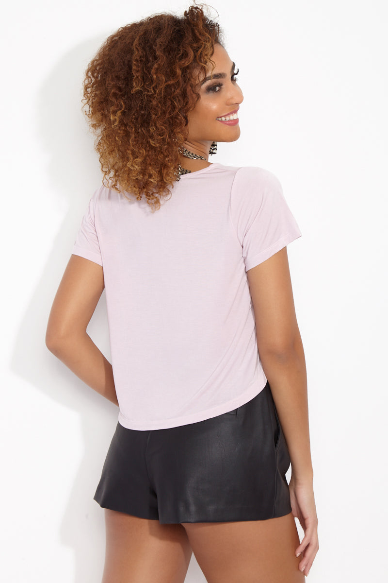 ETE APPARELS All The Feels Crop Tee - Blush Resort Top | Blush| Ete Apparels All The Feels Crop Tee - Blush Back View  Crop Top  Short Sleeves A -Line Cut   White Font Fabric: Micro Modal