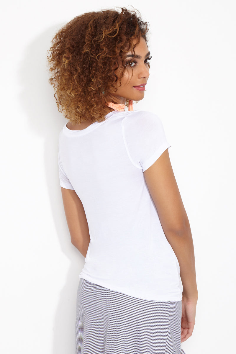 ETE APPARELS Brunch So Hard Scoop Neck Tee - White Top | White| Ete Apparels Brunch So Hard Scoop Neck Tee - White Back View Basic Tee  Scoop Neckline  Short Sleeves Gray Font in All Caps Fabric: Micro Modal