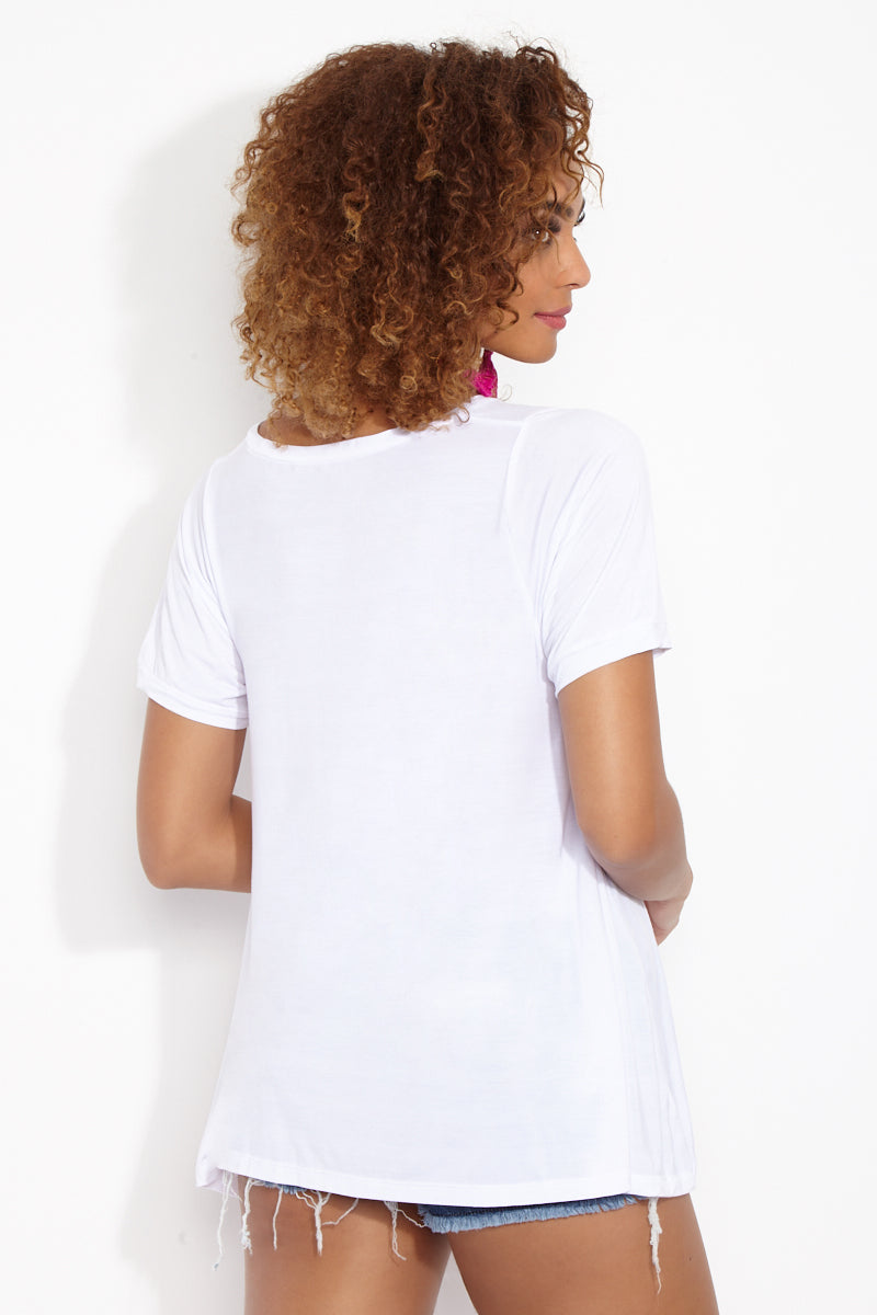 ETE APPARELS Resting Beach Face Oversize Tee - White Resort Top | White| Ete Apparels Resting Beach Face Oversize Tee - White Back View Oversized Tee Short Sleeves A -Line Cut   Gray Font Across Chest in All Caps  Fabric: Micro Modal