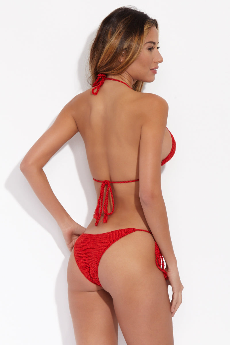 High Crochet Tie Side Bikini Bottom - Fire Red