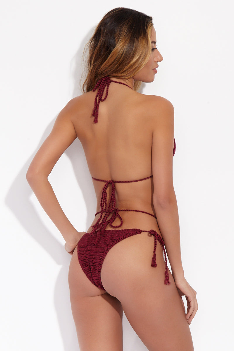 Strappy Crochet Tie Side Bikini Bottom - Maroon Red