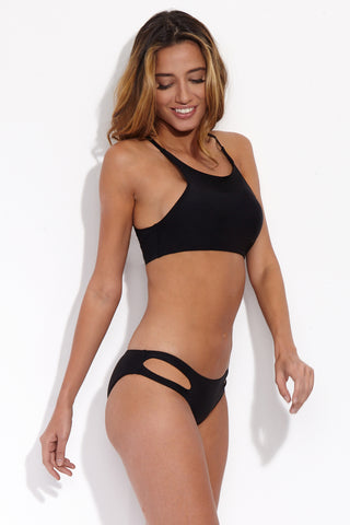 BEACH JOY Sporty Crochet Back Bikini Top - Licorice Bikini Top | Licorice| Beach Joy Sporty Crochet Back Bikini Top - Licorice. Side View. Simple, scoop neckline bikini top with narrow shoulder straps in classic black. Molded/padded cups to lift and support the breasts. Sporty, pull-over top with strong banded sides.