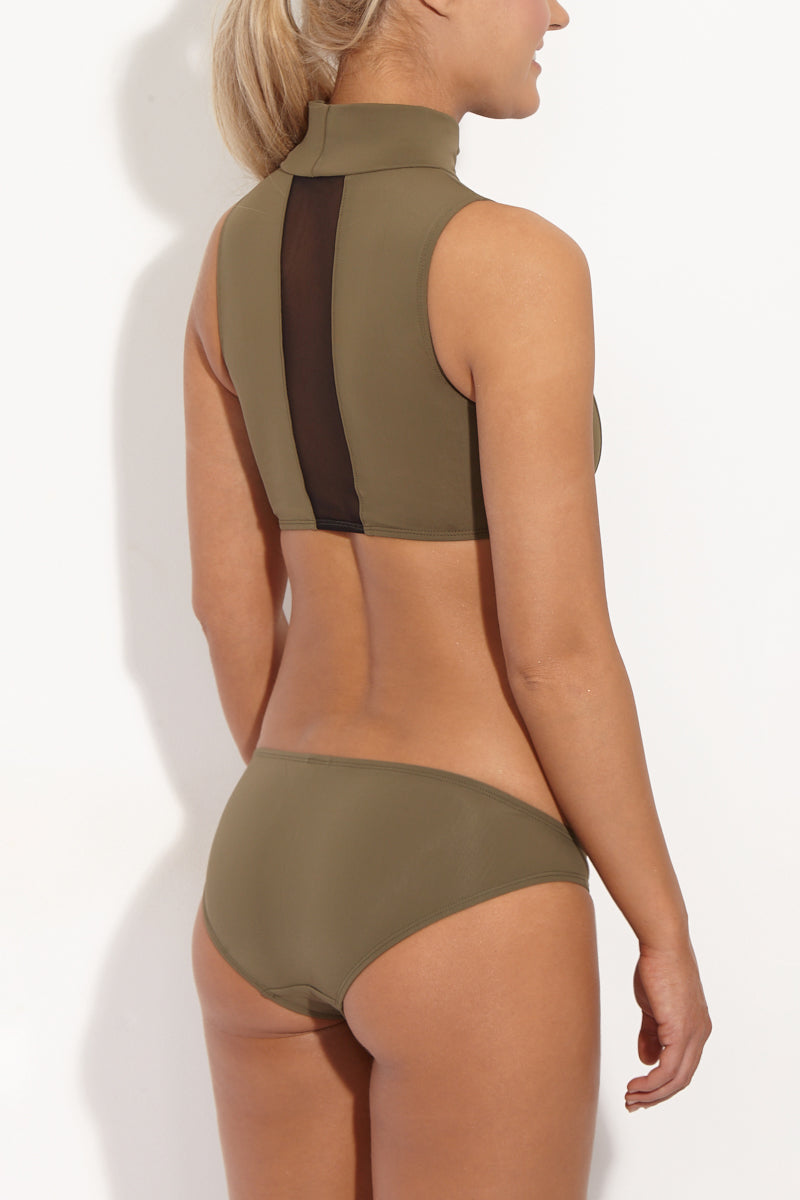Naomi Low Rise Full Bikini Bottom - Khaki Green