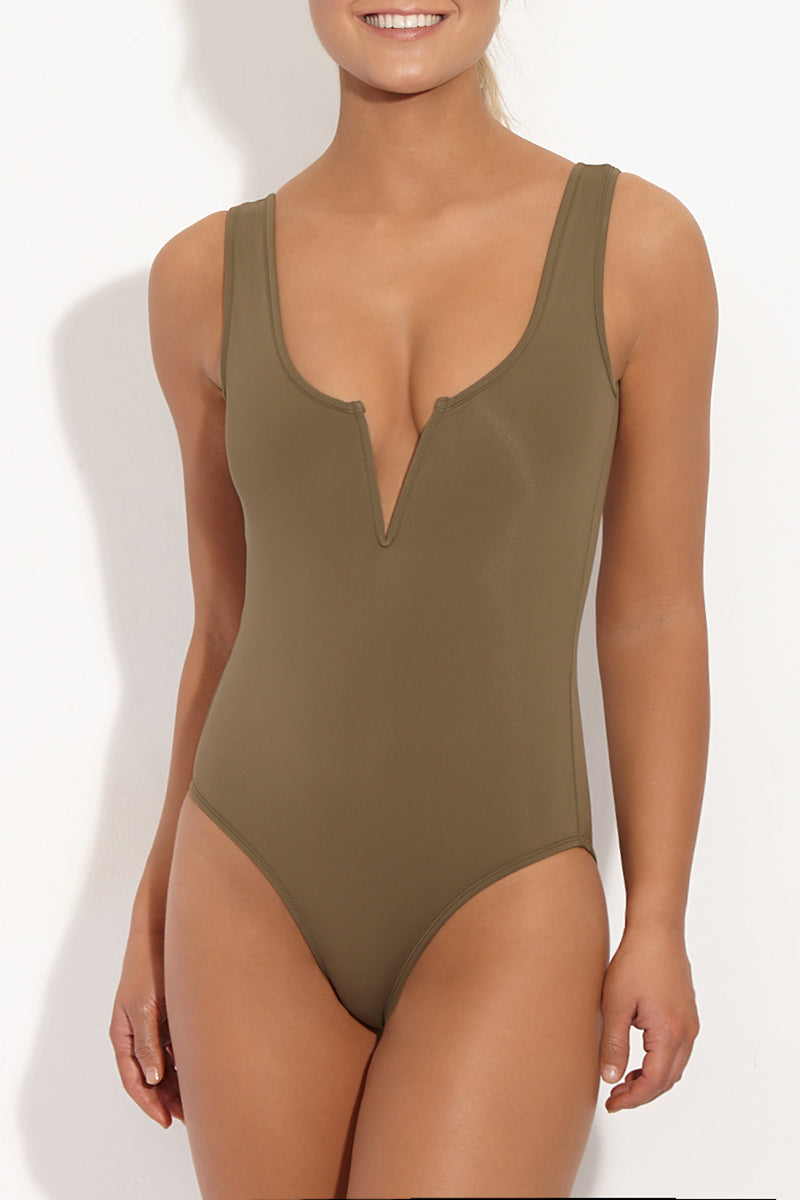 10 25 17 On Model Hannah 0646 JC 765dadf1 36ee 4e6e 93f2 49bcfa6a418f Ines V Wire Tank One Piece Swimsuit 8211 Khaki Green