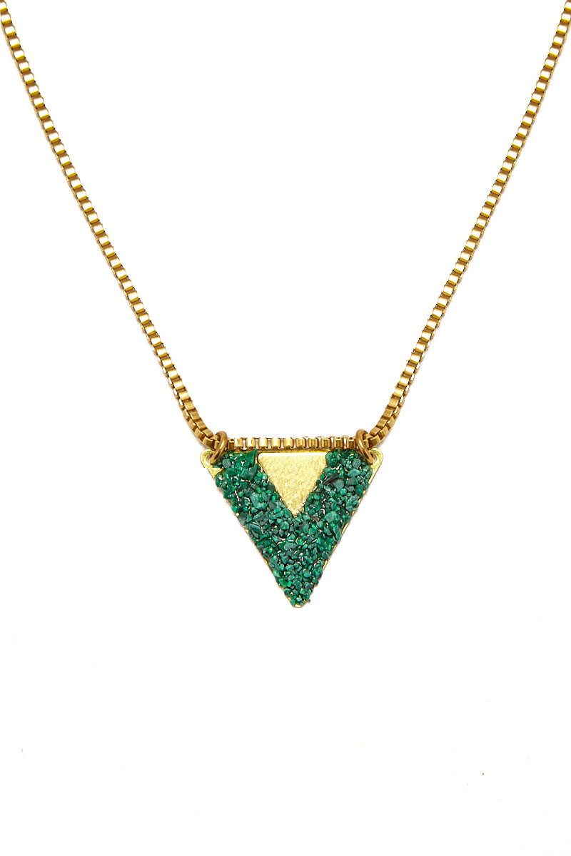 Double Trouble Triangle Pendant Necklace - Malachite Green